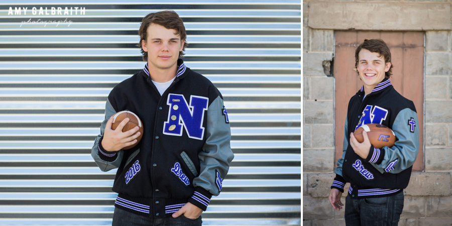 high school athlete leaning against rustic building wearing letterman's jacket