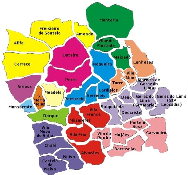 mapa do concelho de caminha Município de Viana do Castelo mapa do concelho de caminha