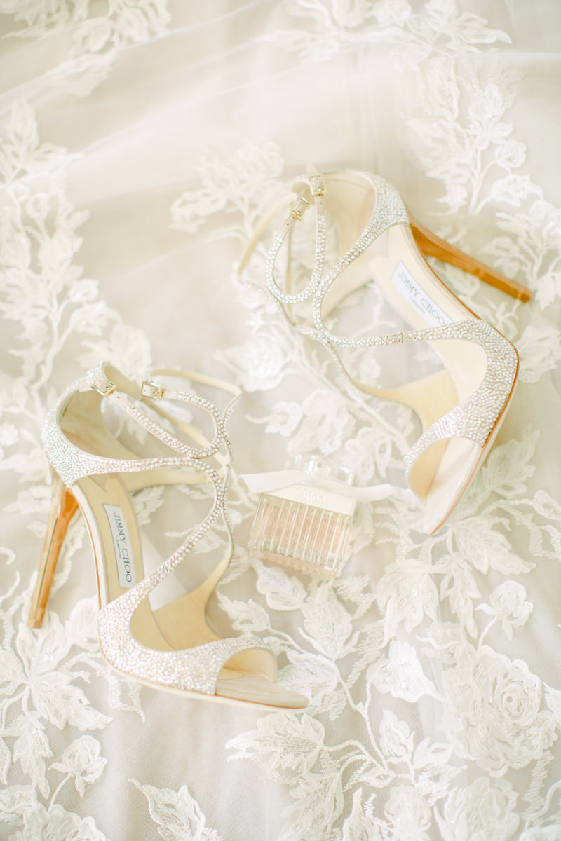 A fabulous bling strappy wedding shoe by Jimmy Choo