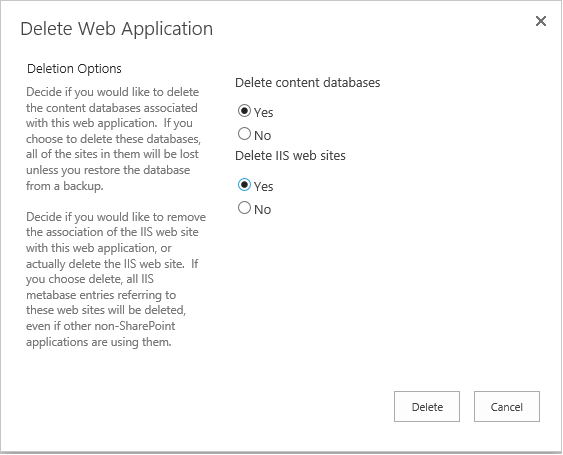 how to delete a sharepoint web application