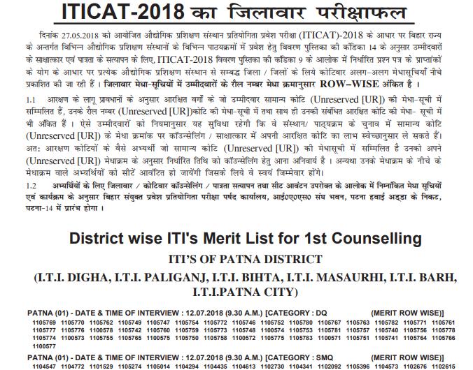 ITICAT परीक्षा परिणाम 2018 घोषित