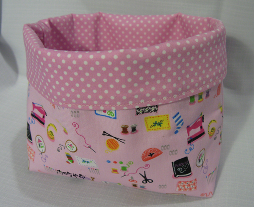 this pink fabric basket is made using the original instructions