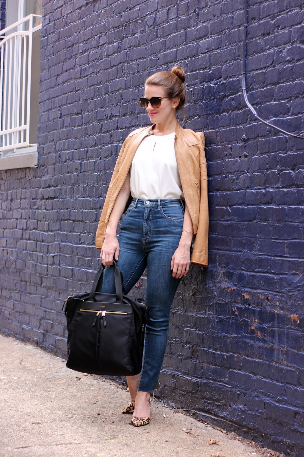 Leather Jacket, High Waisted Jeans, Top Knot. Fall Perfection.