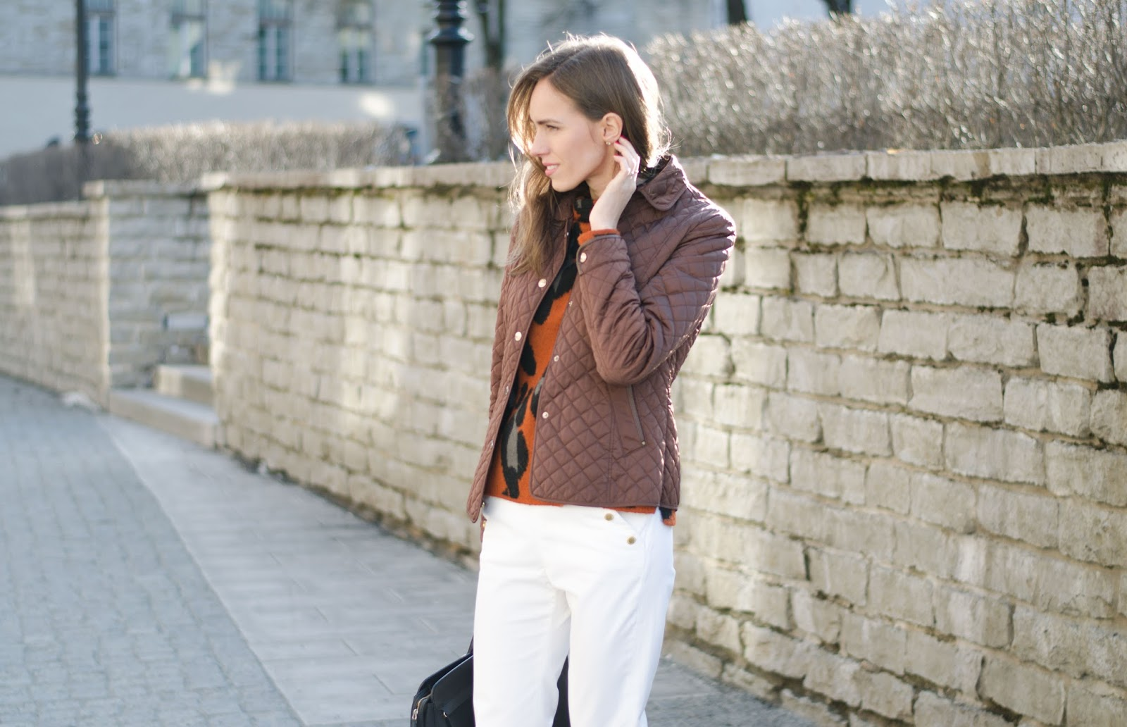 kristjaana mere brown jacket white pants spring fashion