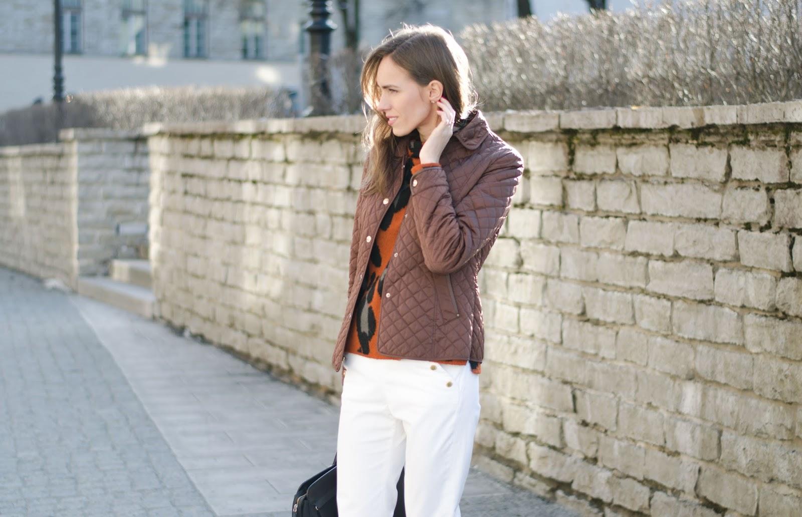 kristjaana mere brown jacket white pants spring fashion