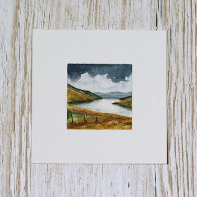 Scottish landscape watercolour painting with loch