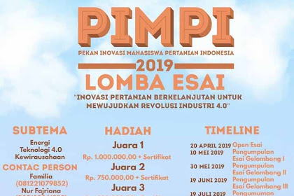 Lomba Esai Nasional Mahasiswa PIMPI 2019 IPB Terbaru