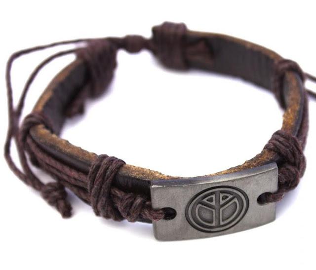 Leather Peace Symbol Bracelet