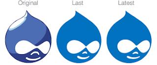 evolución en el color del logo de Drupal