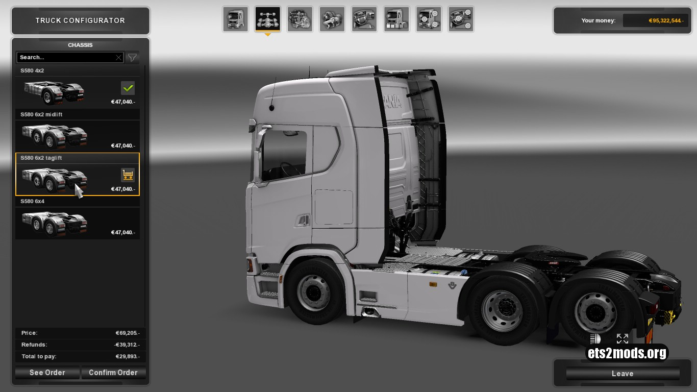 Chassis & Engine for Scania S580