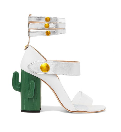 Weird Shoe Wednesday : MR by Man Repeller Cactus Heel Perspex Trimmed Metallic Leather Sandals