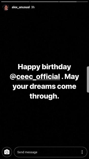 Birthday Message Alex sends to Cee-c