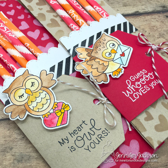 Sweet Treats Blog Hop | Owl Pixy Stix Treat pockets by Jennifer Jackson  | Love Owl-ways Stamp Set, Fancy Edges Tag Die Set and Tumbling Hearts Stencil by Newton's Nook Designs #newtonsnook #handmade #valentine