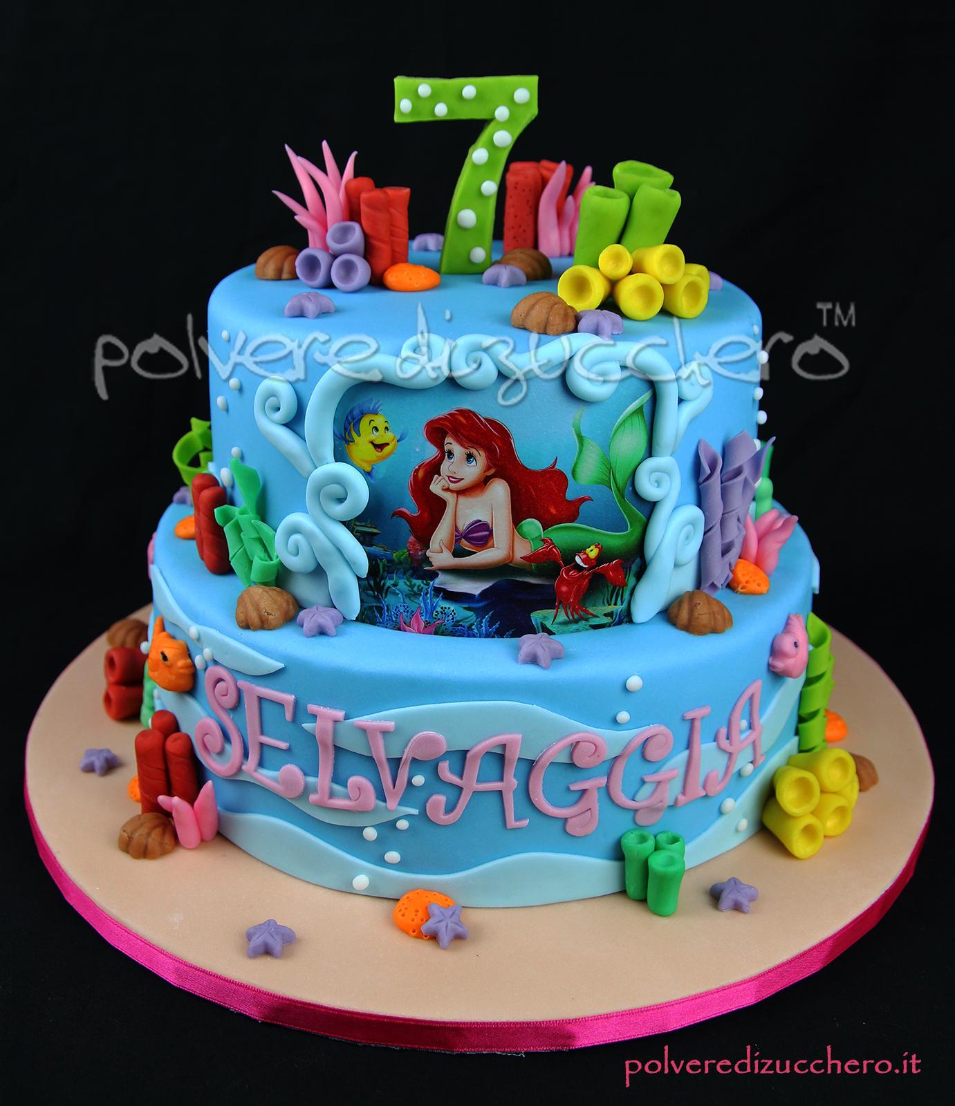 torta decorata pasta di zucchero cake design sirenetta disney compleanno bambina torta a piani The Little Mermaid