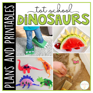 Tot School & Toddler Curriculum Made Easy! This Tot School: Dinosaurs resource has everything you need for a week packed full of dinosaur themed fun and learning. Weekly plans, materials, printables and goals for pre-academic, fine motor, and gross motor skills practice, along with snack ideas, and sensory bin plans are all included in this download!