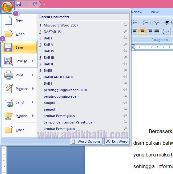 Cara Menyimpan Dokumen Kerja Microsoft Word 2007