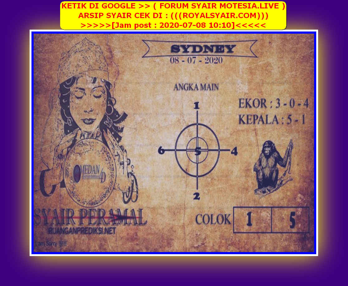 Kode syair Sydney Rabu 8 Juli 2020 106