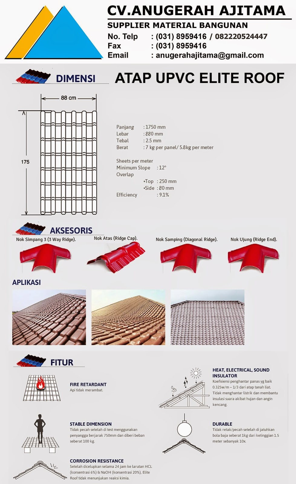 DIMENSI ATAP UPVC ELITE ROOF