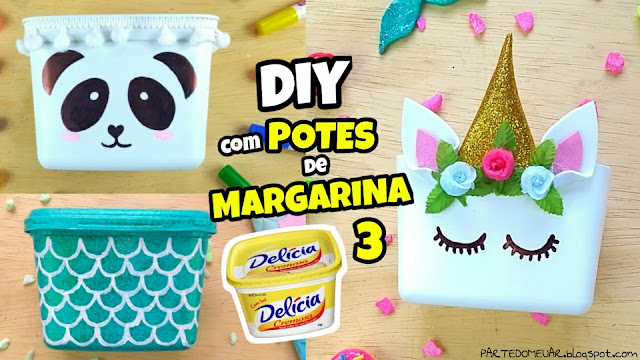pote de margarina decorado