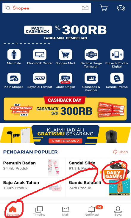 Fitur Daily Games di Marketplace Shopee.