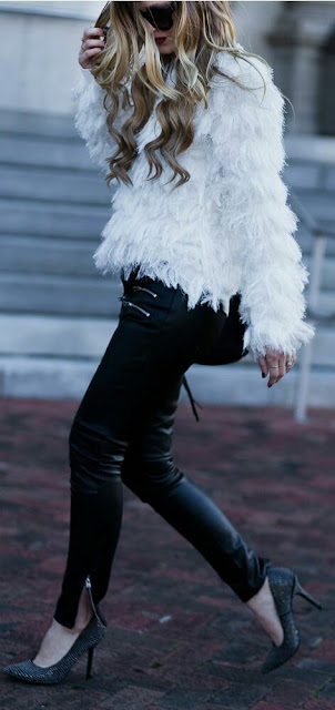 Faux fur coat and leather back pant