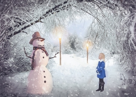 A child watching a snowman.