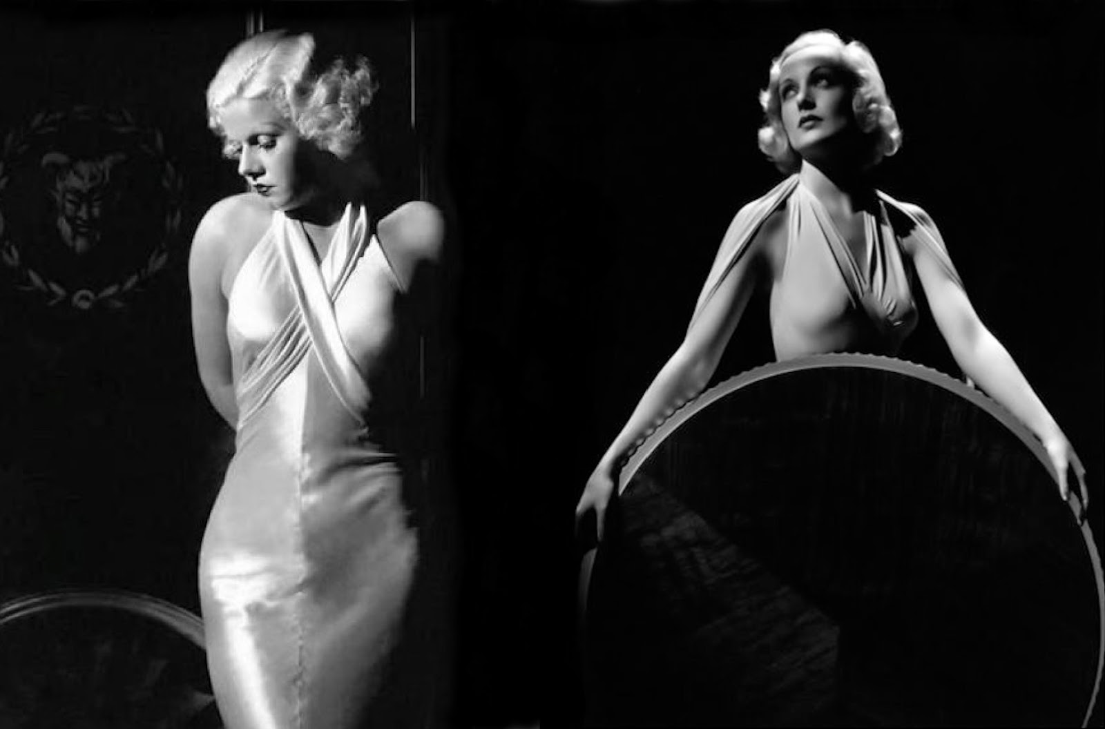 Fashion icons of the 1930s...film actresses Jean Harlow (L) & Carole  Lombard (R) wearing bias cut gowns