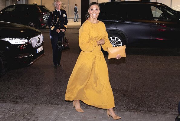 Crown Princess Victoria wore a new midi dress by Rodebjer. Princess Victoria wore Rodebjer roma dress at World Water Week