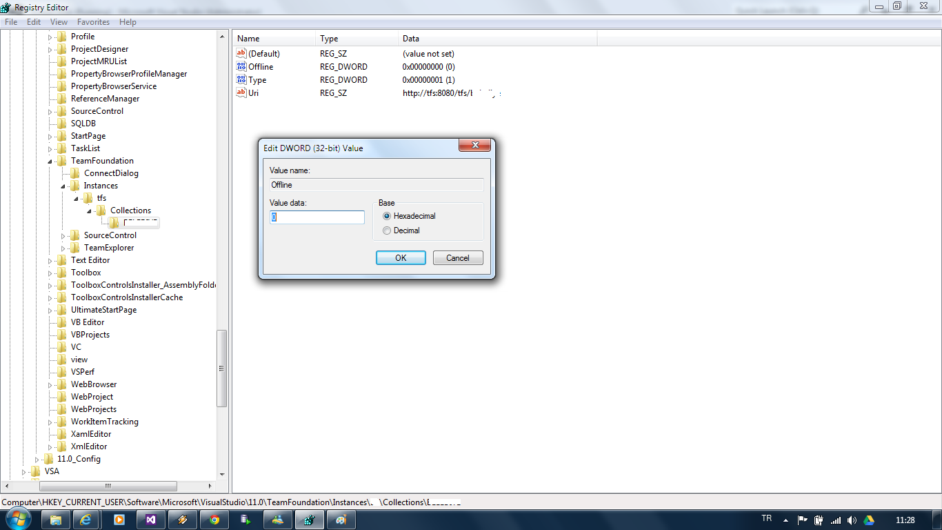 Solution for Visual Studio 2012 & TFS Problem: