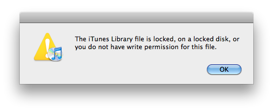 Unable to open iTunes-The iTunes Library file is locked, on a locked disk