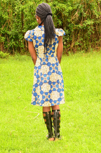 Wearing Knee High Gladiator Sandals With a Stylish Ankara Dress