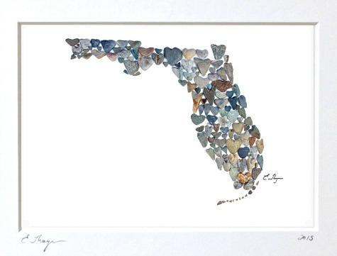 Florida State Map made with Heart Rocks