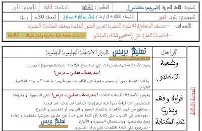 جذاذات الكتابة حرف السين الأسبوع 1 الوحدة الثانية مرجع كتابي في اللغة العربية للمستوى الأول