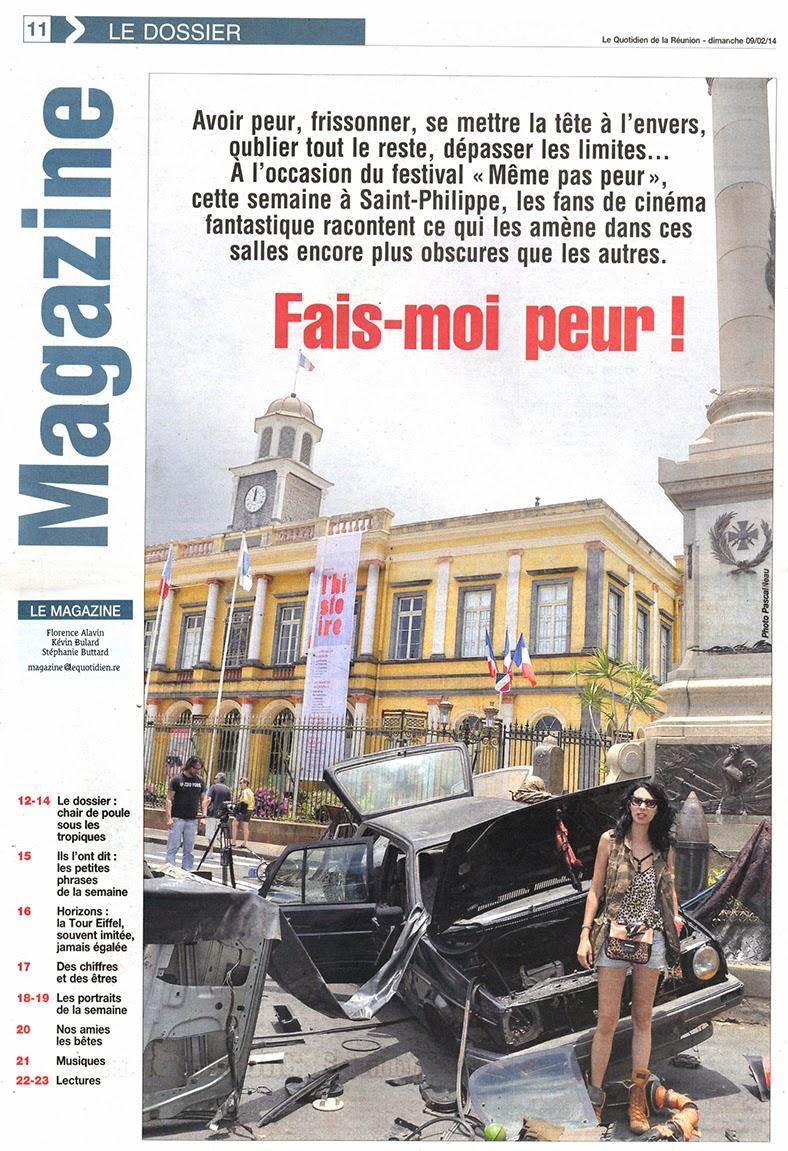 Festival MEME PAS PEUR en couverture du Quotidien de La Réunion