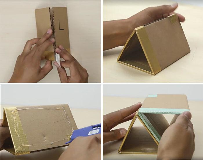 Kartondan Masa Üstü Üçgen Raf nasıl yapılır