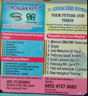 Your Future Our Visiom PT. Gesindo Lampung Timur Terbaru Juni 2018.