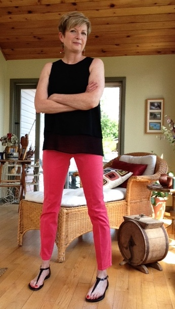 Pink Elie Tahari pants, black Rag and Bone silk tank