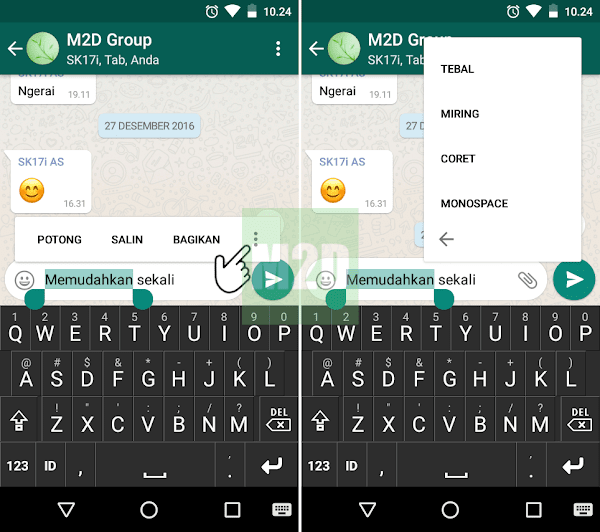 ada pemanis cara mengganti font WhatsApp dengan  Pintasan Menu Teks Bold, Italic, Strikethrough, dan Monospace di WhatsApp