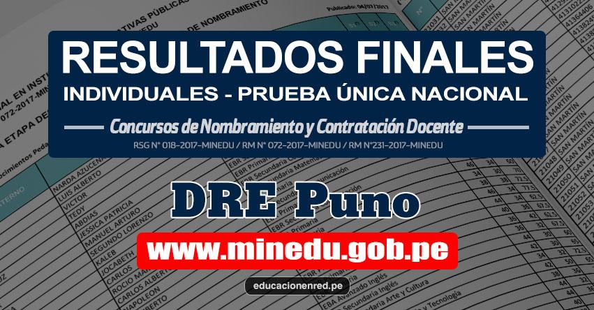 DRE Puno: Resultado Final Individual Prueba Única Nacional y Relación de Postulantes Habilitados para Etapa Descentralizada Nombramiento Docente 2017 - MINEDU - www.drepuno.gob.pe
