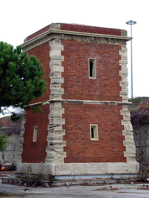 Tower outside the Benetti Shipyard, boundary of the Porto Mediceo, Livorno