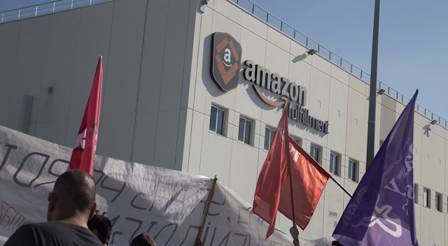 Amazon warehouse workers in Europe stage 'we are not robots' protests