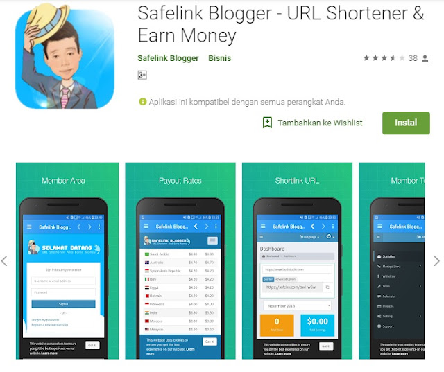 download safelink blogger apk di google play store