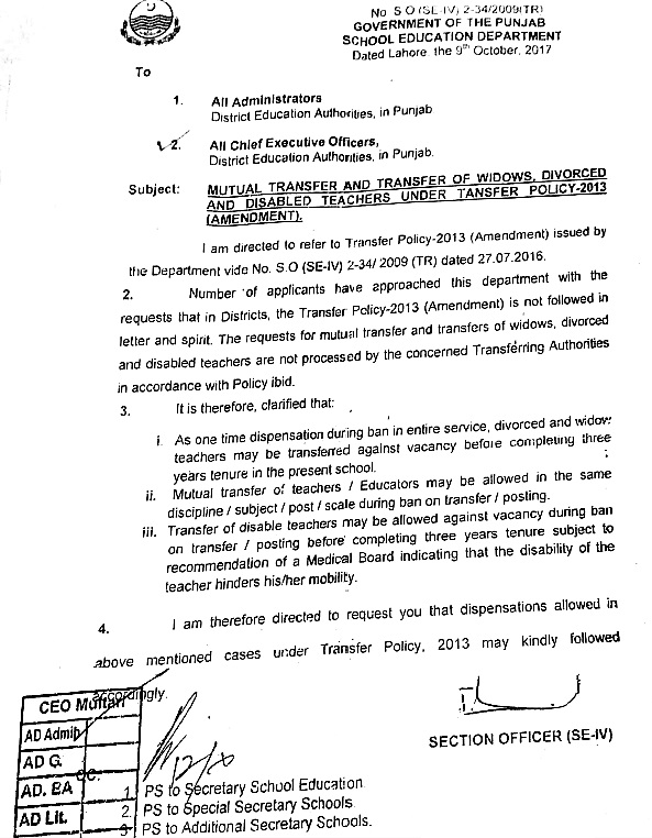 AMENDMENT IN TRANSFER POLICY-2013 REGARDING MUTUAL TRANSFER AND TRANSFER OF WIDOWS, DIVORCED AND DISABLED TEACHERS BY GOVERNMENT OF THE PUNJAB EDUCATION DEPARTMENT