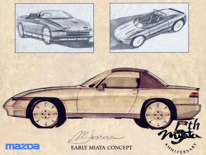 Mazda MX-5, Miata, Eunos Roadster, koncept, prototyp, wizja, szkic, 日本車, スポーツカー, オープンカー, マツダ