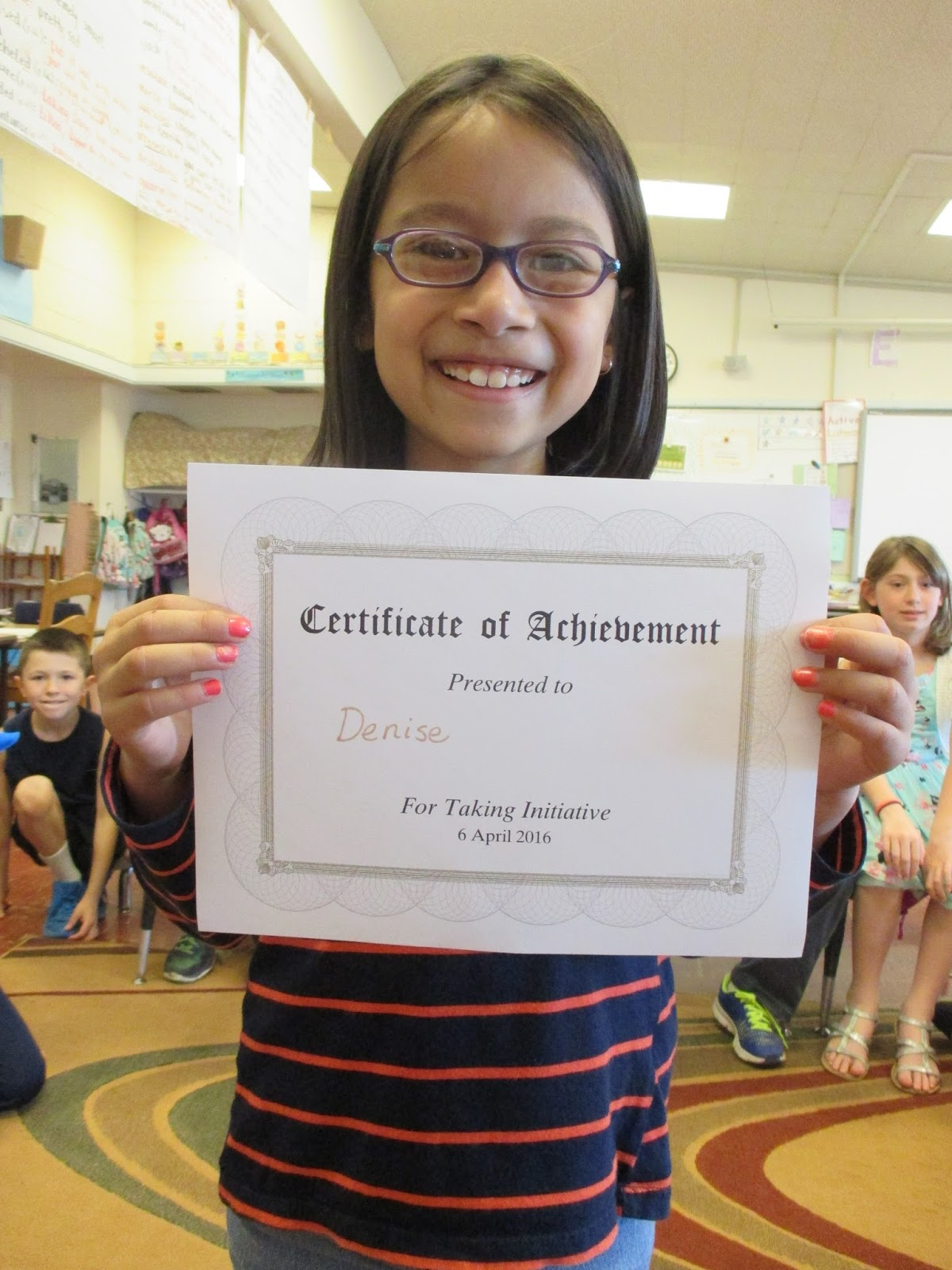 third grade experience in several pictures and quite a two more celebrations we had were the handing out of awards for taking initiative and for trustworthiness denise and hollis are two stellar examples of
