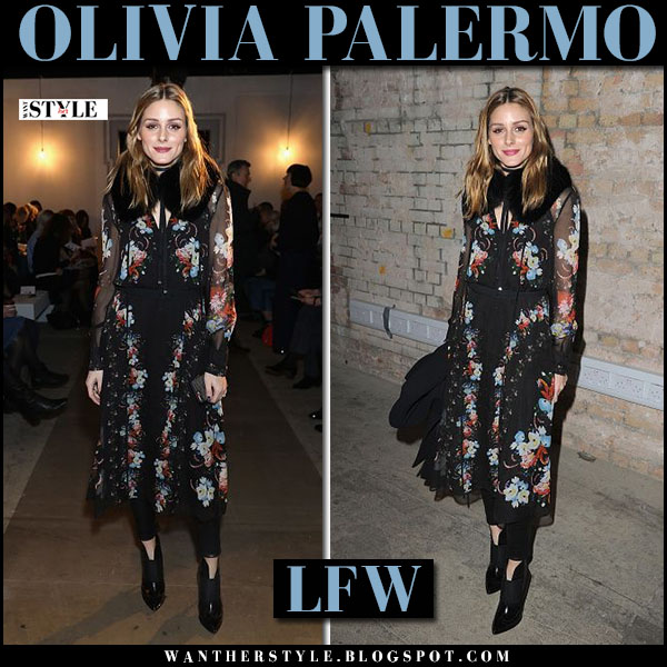 Olivia Palermo in sheer black floral chiffon dress roberto cavalli and ankle booties london fashion week outfits what she wore
