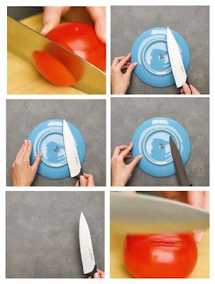 Cara mengasah pisau menggunakan pinggan seramik