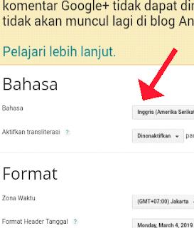 Setelan bahasa blogger