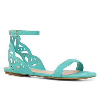 Aldo blue flat sandals with laser cut detail