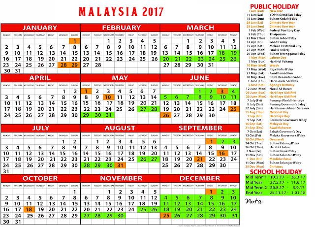 Kalendar, malaysia, 2017